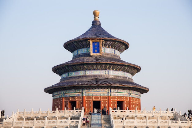 Tempel van de hemel (templo del cielo) in beijing (pekin), china in de ochtend in de winter