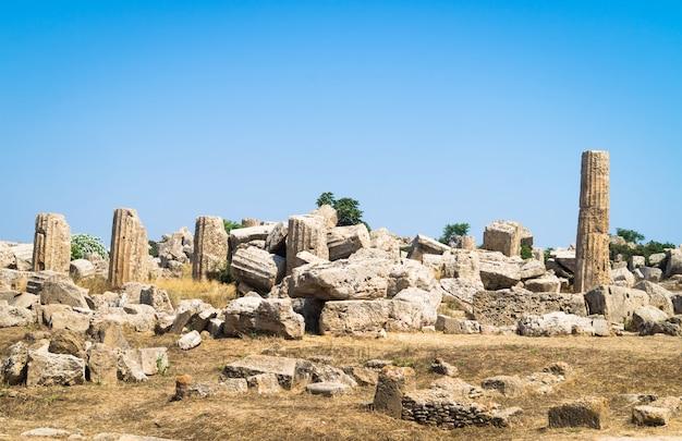 Tempelruïnes, selinunte, sicilië