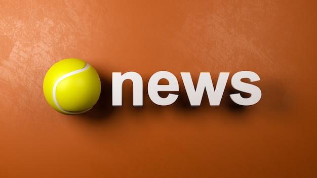 Tennisbal en nieuwstekst tegen de muur