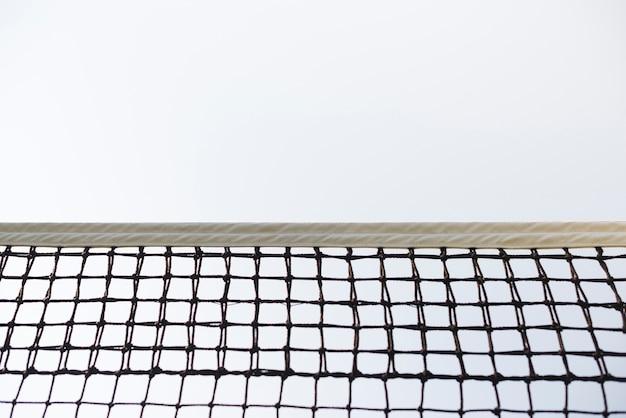 Tennisnet met lage kijkhoek