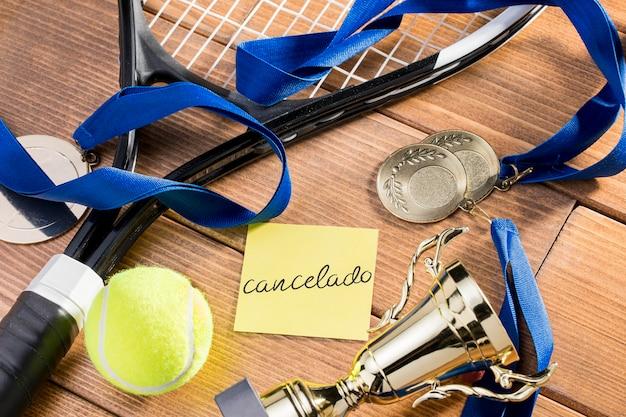 Tennisspel geannuleerd