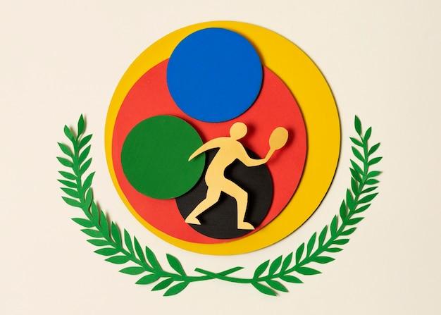 Tennisspeler op kleurrijke cirkels in papierstijl
