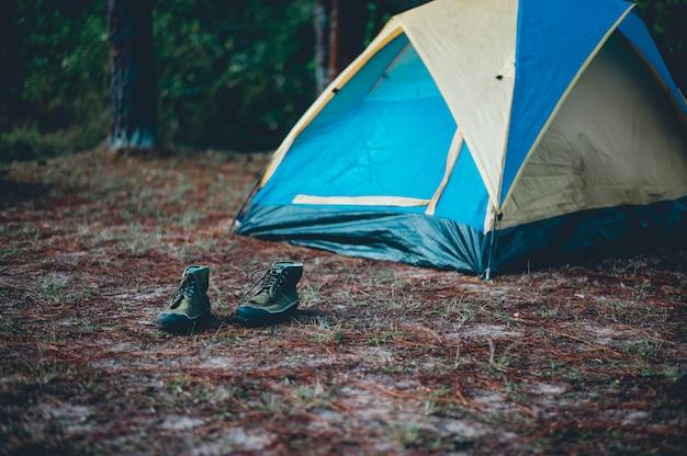 Tenten en accommodatie van toeristen. slapen in het bos in de winter