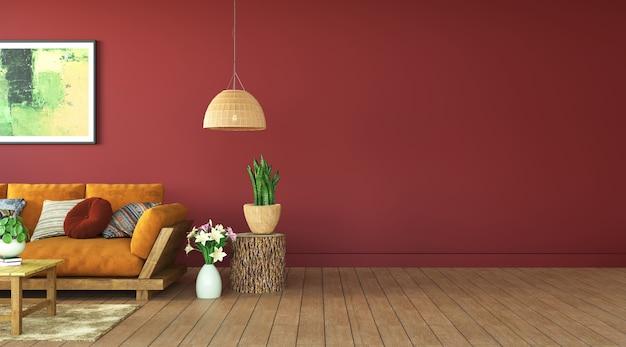 Terracotta kleur verf woonkamer, 3d-rendering