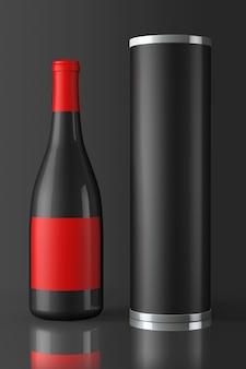 Terug fles rode wijn met pakket op een zwarte achtergrond
