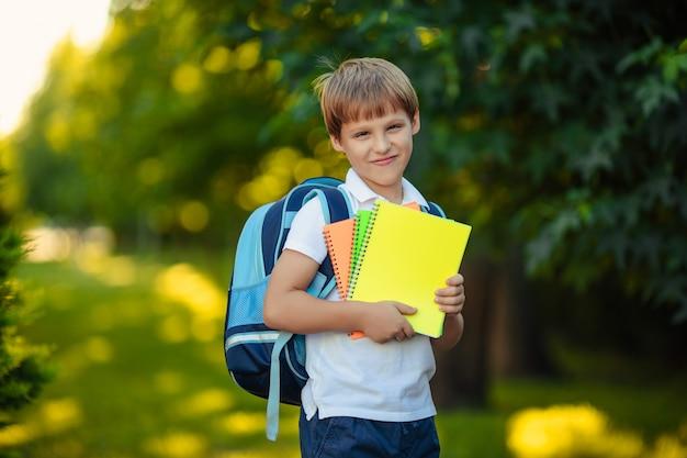 Terug naar school. het portret van gelukkige glimlachende kindjongen met boeken dient het park in.