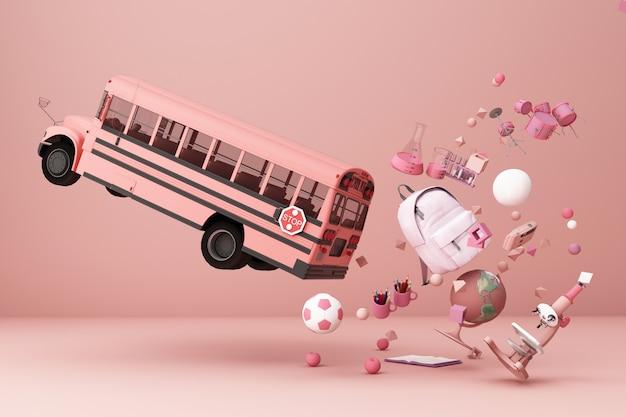 Terug naar school inspiratie poster met educatieve apparatuur en schoolbus 3d-rendering