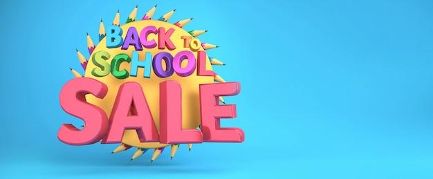 Terug naar school verkoop banner kleurrijke onderwijsartikelen en ruimte voor tekst op een achtergrond. 3d-weergave.