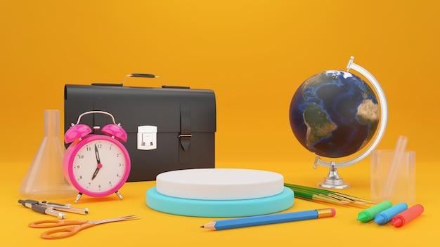 Terug naar schoolconcept op gele achtergrond, schoollevering, 3d illustratie.
