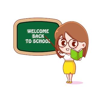 Terug naar schoolillustratieontwerp met groet van leraarkarakter
