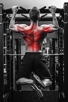 Terug specialisatie in bodybuilding. gespierde man doet pull-ups op een horizontale balk.