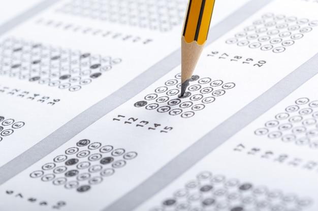 Test scorekaart met antwoorden