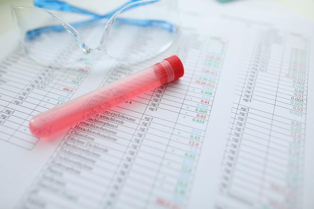 Testbuis met rode vloeistof die bij chemische samenstelling ligt
