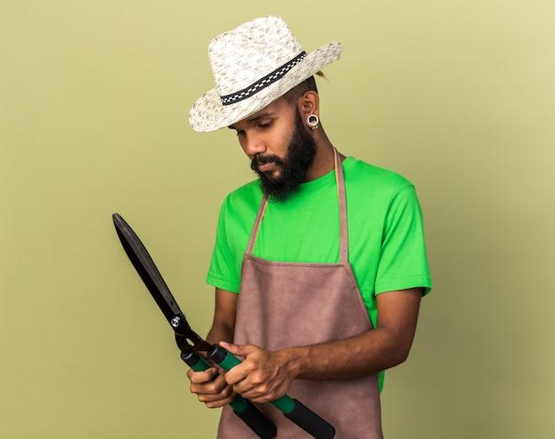 Tevreden jonge tuinman afro-amerikaanse man met een tuinhoed die vasthoudt en naar tondeuses kijkt die op een olijfgroene muur zijn geïsoleerd