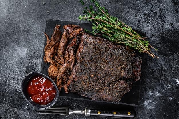 Texas style bbq smoked beef brisket vlees steak