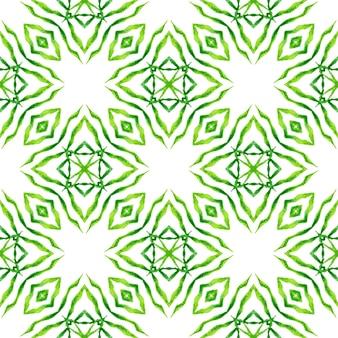 Textiel klaar prachtige print, badmode stof, behang, verpakking. groen schilderachtig boho chic zomerontwerp. herhalende gestreepte handgetekende rand. gestreept handgetekend ontwerp.