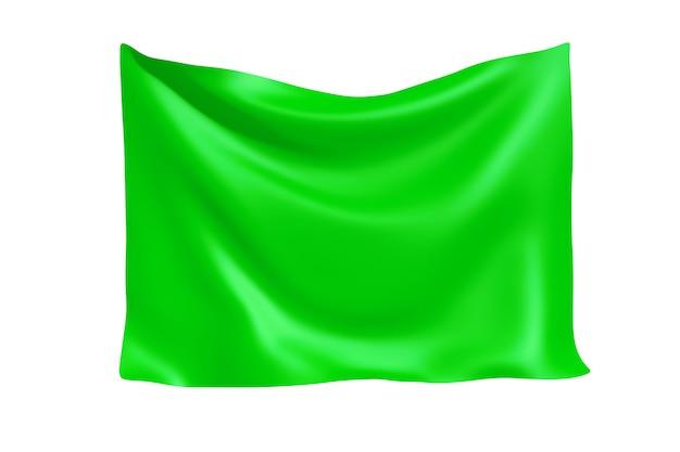 Textiel stof banner. opknoping groene doek banner met lege ruimte voor uw ontwerp op een witte achtergrond. 3d-rendering