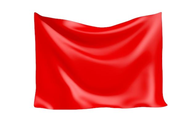 Textiel stof banner. opknoping rode doek banner met lege ruimte voor uw ontwerp op een witte achtergrond. 3d-rendering