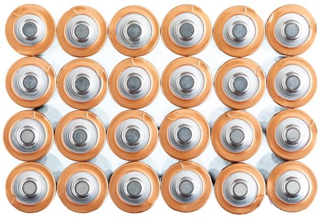 Textuur aa elektrische batterijen (aaa). positief poolbeeld (+ -).