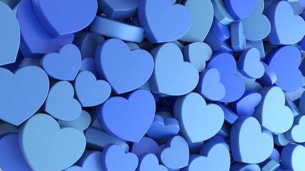 Textuur achtergrond van vakantie vaderdag naadloze patroon met blauwe harten. 3d-weergave.