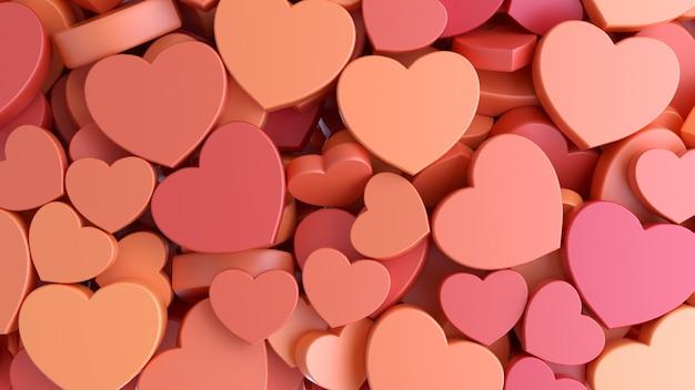 Textuur achtergrond van vakantie valentijnsdag naadloze patroon met rode harten. 3d-weergave.