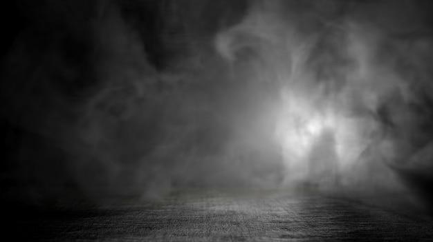 Textuur donkere betonnen vloer en rook achtergrond. 3d-weergave.