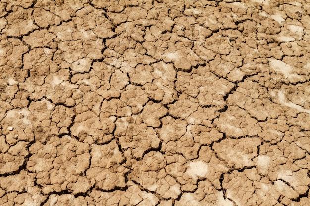 Textuur gebarsten aarde in het droge seizoen.