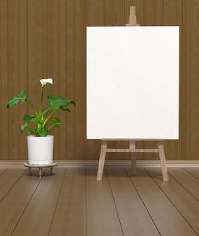 Textuur helder linoleum en groene bloeiende calla. leeg wit canvas op een houten ezel.