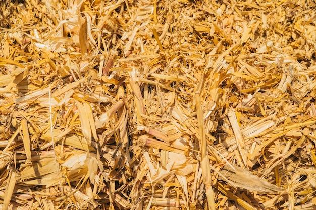 Textuur van de hooiberg. achtergrond van droog geel hooi. agrarische industrie.