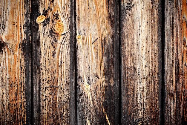 Textuur van donkerbruin oud hout met een takje en een oude roestige spijker