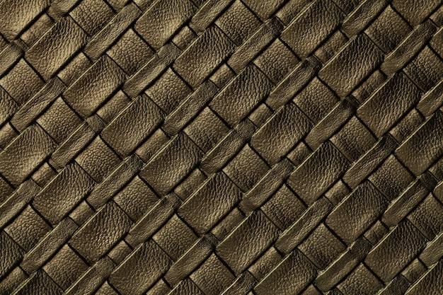 Textuur van donkerbruine leerachtergrond met rieten patroon, macro.