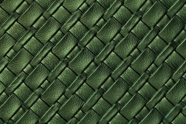 Textuur van donkergroene leerachtergrond met rieten patroon