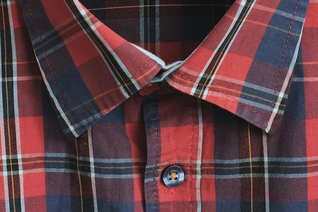Textuur van een flanellen overhemd in een kooi close-up