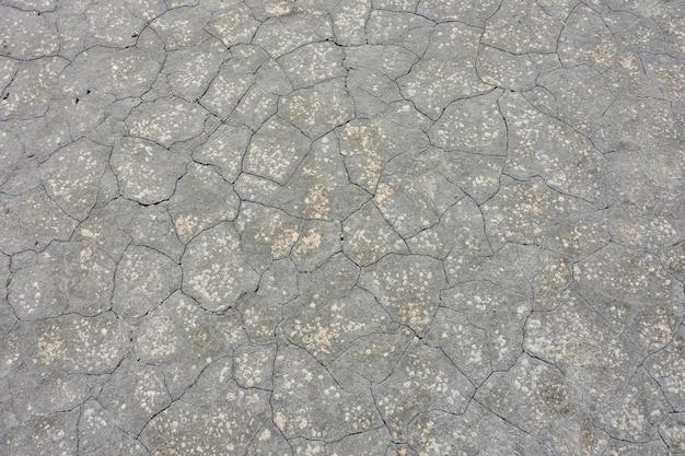 Textuur van gedroogde grijze modder, gedroogde aarde
