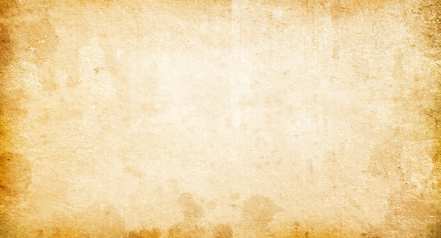 Textuur van oud verschoten vintage papier, beige retro achtergrond, grunge papier met vlekken en strepen