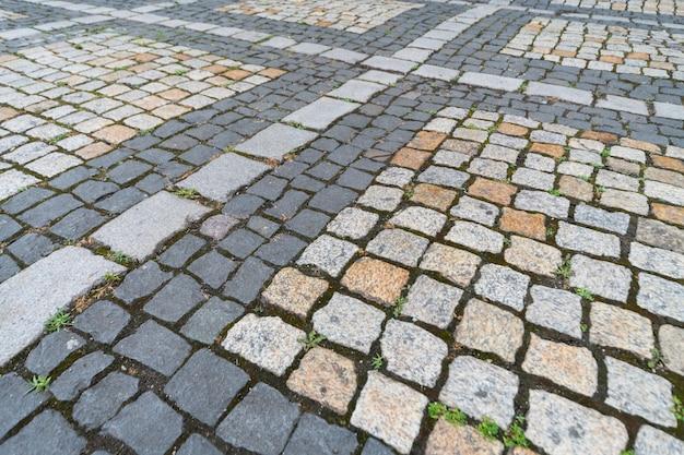 Textuur van oude duitse kei in de stad in de stad