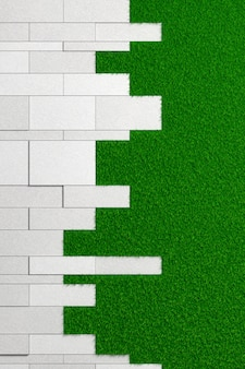 Textuur van platen van verschillende groottes van ruw beton gelegd op een groen gazon. 3d-afbeelding