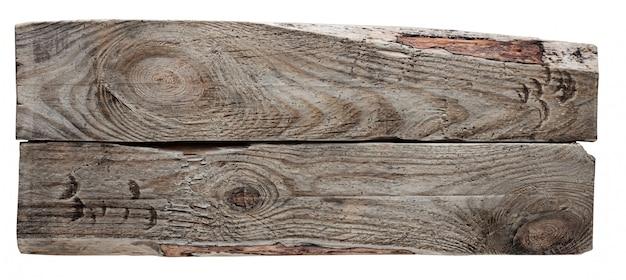 Textuur van twee houten die raad in wit wordt geïsoleerd.