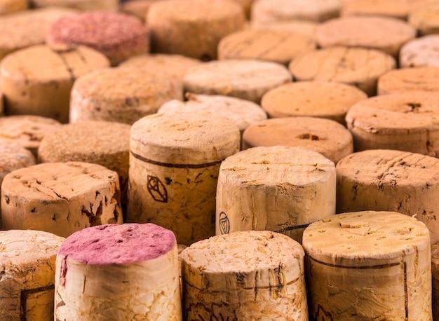 Textuurkurk van wijnflessen.