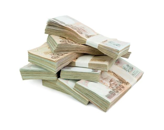 Thais bankbiljet 1000 baht op witte achtergrond voor zaken, bankwezen of financieel concept
