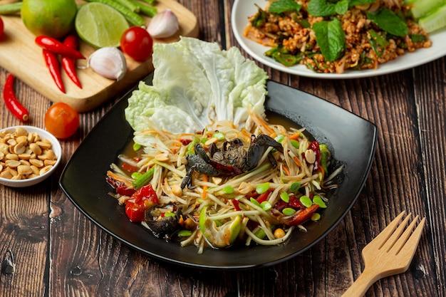 Thais eten; som tum of papajasalade