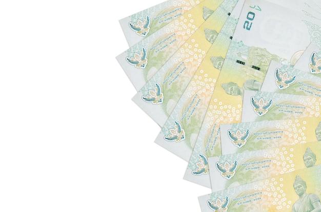 Thaise baht-rekeningen die op witte oppervlakte leggen
