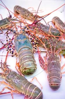 Thaise zeekreeft, zeevruchten, markt, thailand