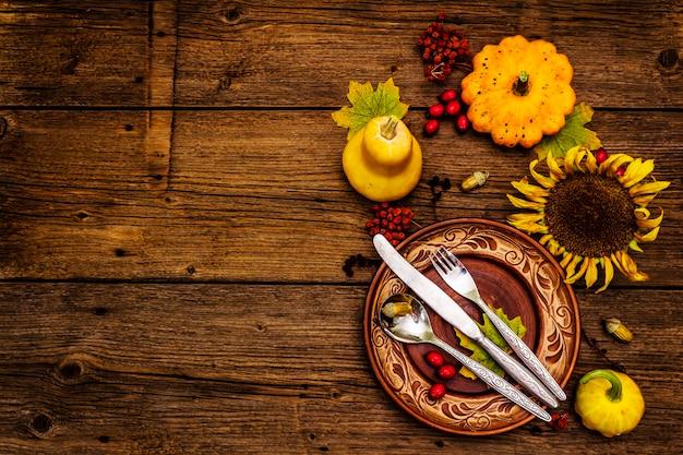 Thanksgiving diner tafel instelling