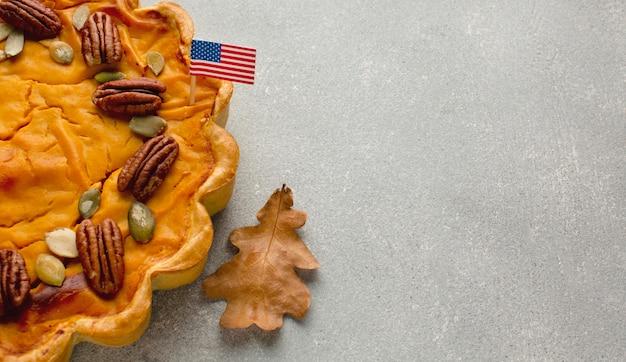 Thanksgiving pompoentaart met kopie ruimte