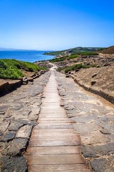 Tharros archeologische vindplaats en zeegezicht, oristano, sardinië