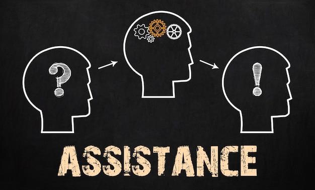 The assistance - business concept op schoolbord achtergrond