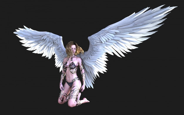 The heaven angel wings, white wing-verenkleed met uitknippad.