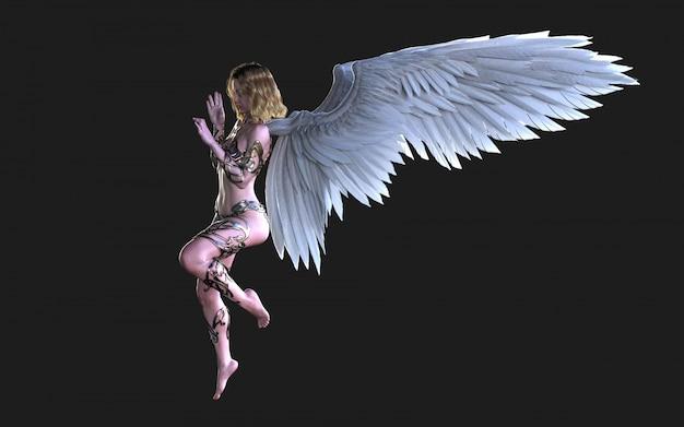 The heaven angel wings, white wing-verenkleed met uitknippad.