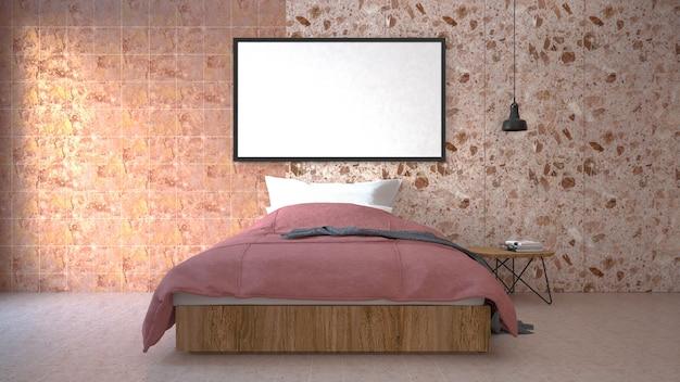 The modern of loft bedroom. 3d render